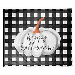 Designs Direct Halloween Happy Halloween Check Fleece Throw Blanket