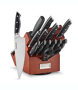 Set de cuchillos Cuisinart® con triple remache y base giratoria en café acacia, 15 piezas