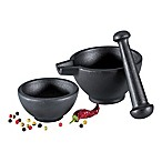 Zassenhaus 3-Piece Cast Iron Mortar and Pestle Set in Black