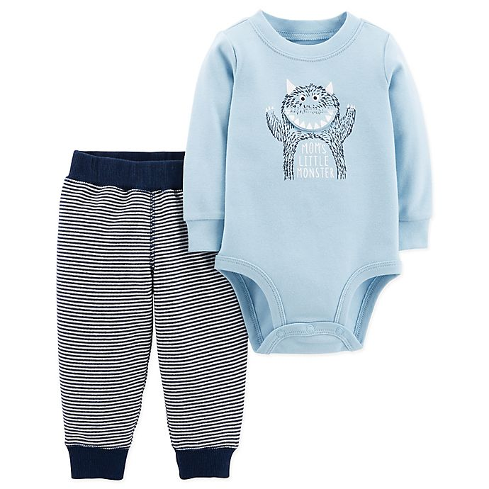 Alternate image 1 for carter's® 2-Piece Mom's Little Monster Bodysuit and Pant Set in Blue