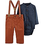 carter's® Newborn 2-Piece Chambray Bodysuit and Suspender Pant Set in Navy