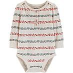 OshKosh B'gosh® Size 3M Floral Stripe Long Sleeve Henley Bodysuit