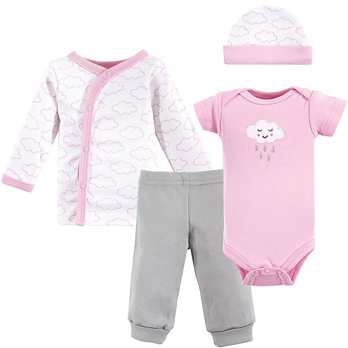 Alternate image 1 for Luvable Friends® Preemie 4-Piece Cloud Layette Set in Pink