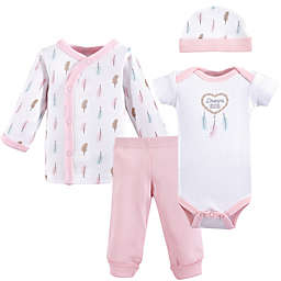 Luvable Friends® Preemie 4-Piece Feathers Layette Set in Pink