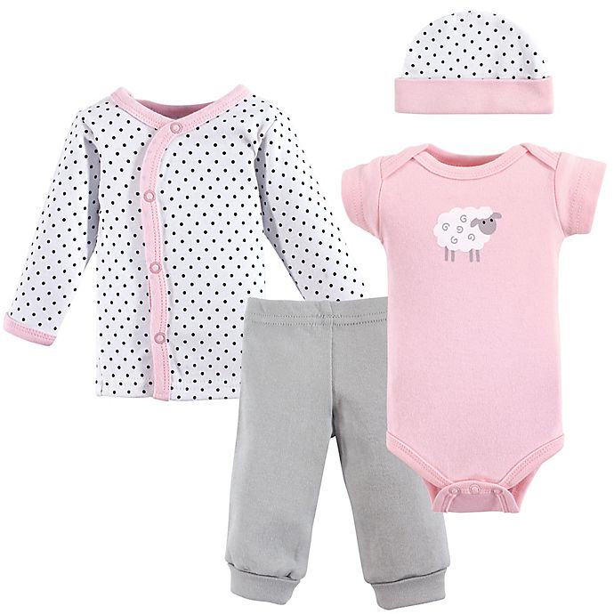 Alternate image 1 for Luvable Friends® Preemie 4-Piece Pink Sheep Layette Set
