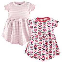 Touched by Nature Size 0-3M 2-Pack Organic Cotton Flower Dresses in Pink