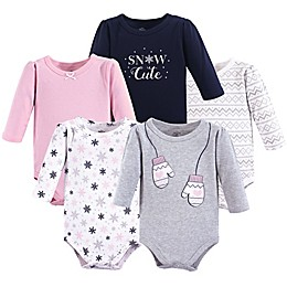 Little Treasures 5-Pack Mittens Long Sleeve Bodysuits in Grey