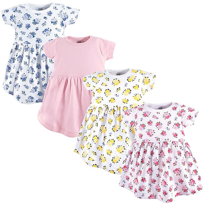 Alternate image 1 for Luvable Friends® 4-Pack Floral Dresses in Pink