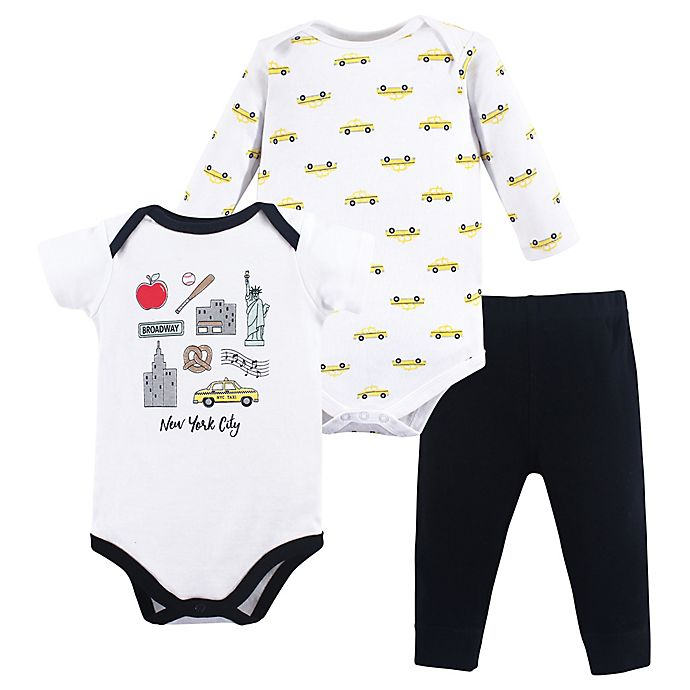 Alternate image 1 for Hudson Baby® NYC 3-Piece Bodysuit and Pant Set in Black