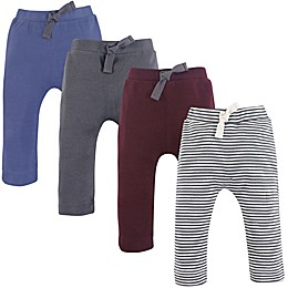 Touched by Nature 4-Pack Organic Cotton Pants in Blue/Grey/Red