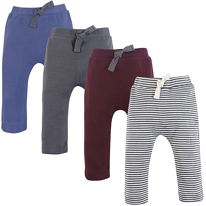 Alternate image 1 for Touched by Nature Size 9-12M 4-Pack Organic Cotton Pants in Blue/Grey/Red