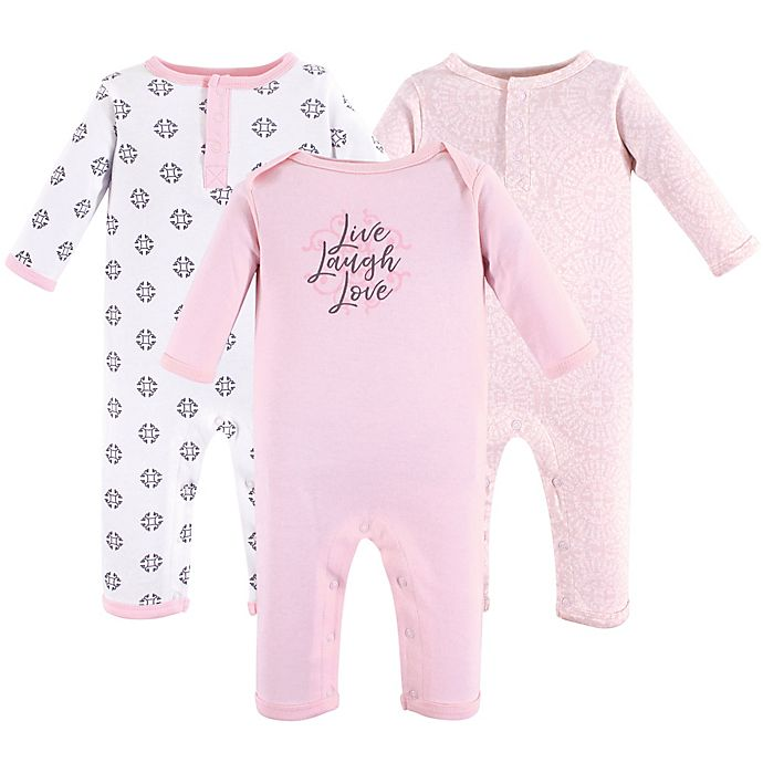 Alternate image 1 for Yoga Sprout Size 18-24M 3-Pack Scroll Union Suits in Pink