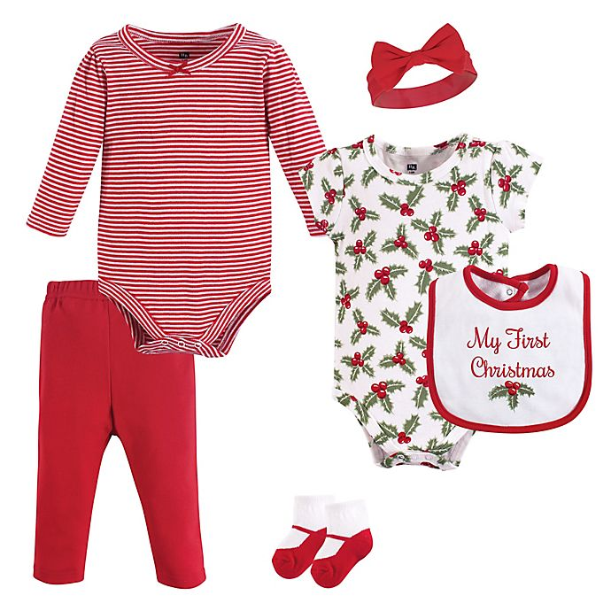 Alternate image 1 for Hudson Baby® 6-Piece Holly Layette Set in Red