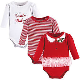 "Little Treasures 3-Pack ""Santa Baby"" Bodysuits in Red"
