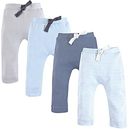Touched by Nature 4-Pack Organic Cotton Harem Pants in Light Blue/Grey