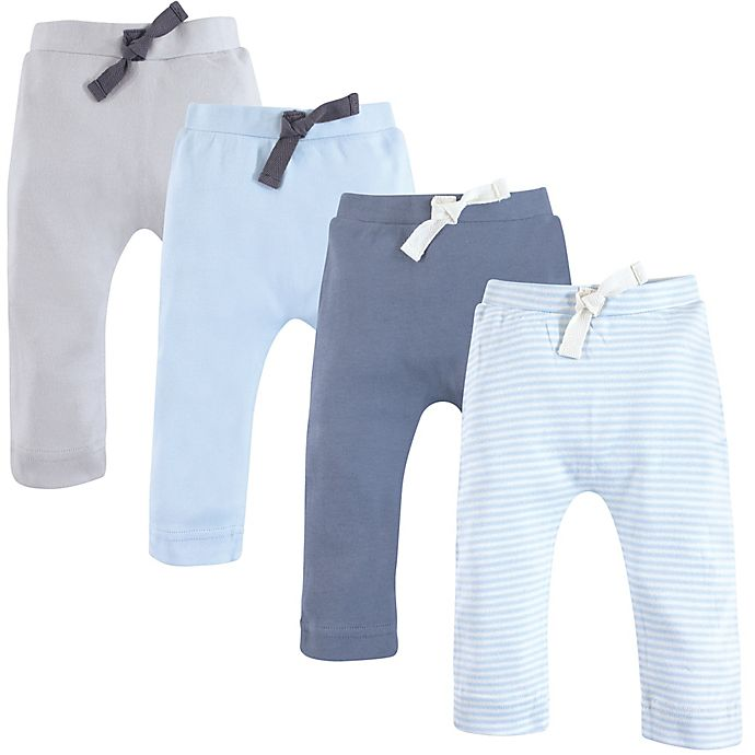 Alternate image 1 for Touched by Nature 4-Pack Organic Cotton Harem Pants in Light Blue/Grey