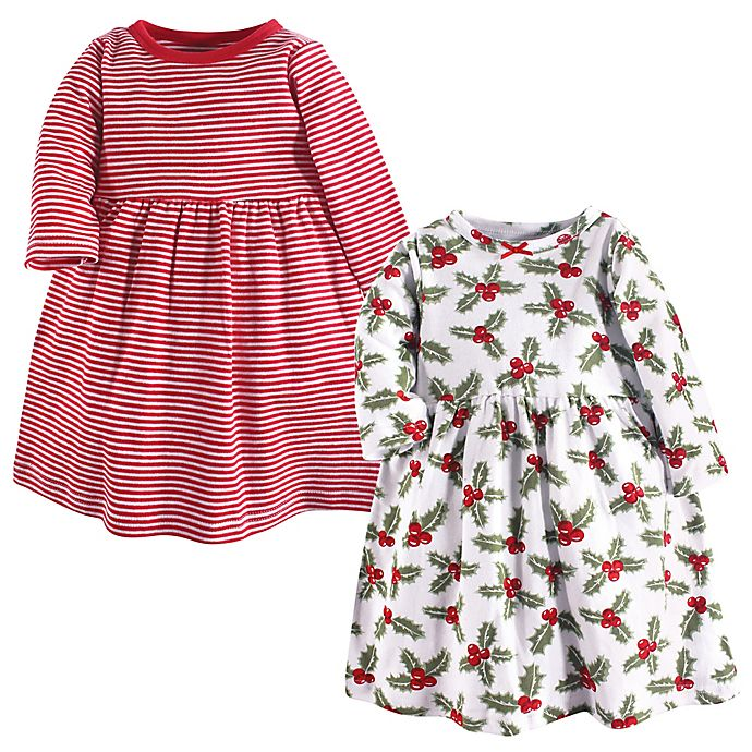 Alternate image 1 for Hudson Baby® 2-Pack Holly and Stripes Long Sleeve Dresses in Red