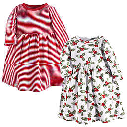 Hudson Baby® 2-Pack Holly and Stripes Long Sleeve Dresses in Red