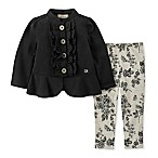 Calvin Klein® Size 6-9M 2-Piece Ruffled Jacket and Pant Set