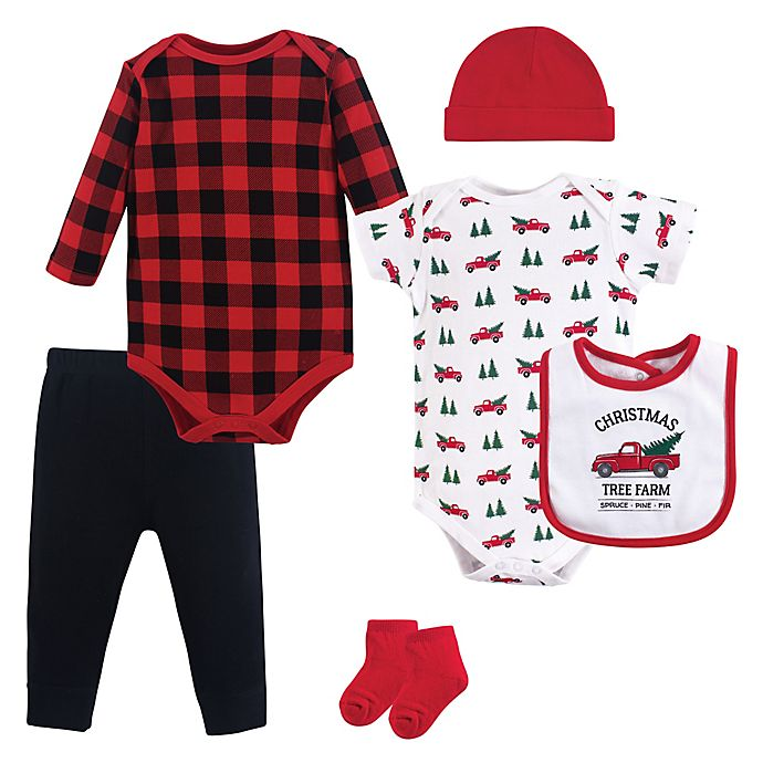 Alternate image 1 for Hudson Baby® 6-Piece Christmas Tree Layette Set