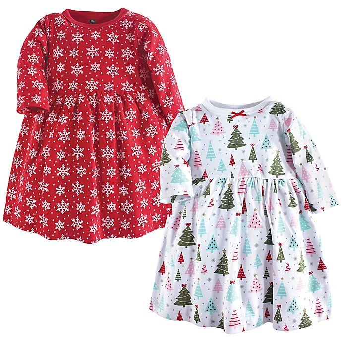 Alternate image 1 for Hudson Baby® 2-Pack Sparkle Trees Dresses in Red