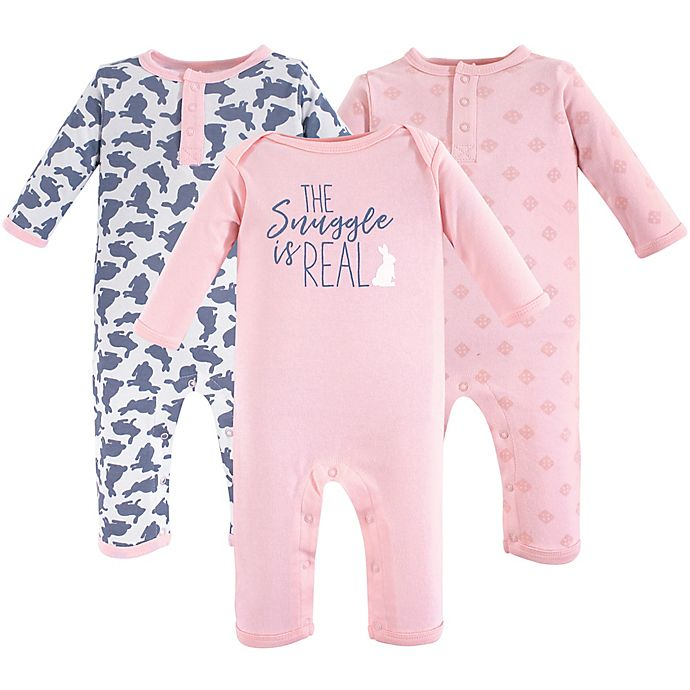 Alternate image 1 for Yoga Sprout Size 18-24M 3-Pack Snuggle Bunny Bodysuits in Pink