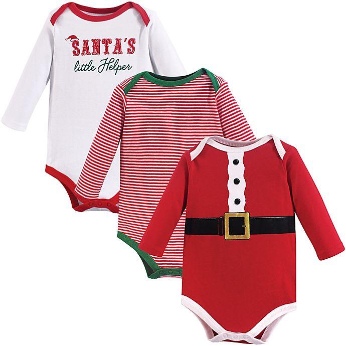 Alternate image 1 for Little Treasure 3-Pack Santa's Helper Bodysuits