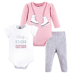 Little Treasures 3-Piece Ice Skates Bodysuits and Pant Set in Pink