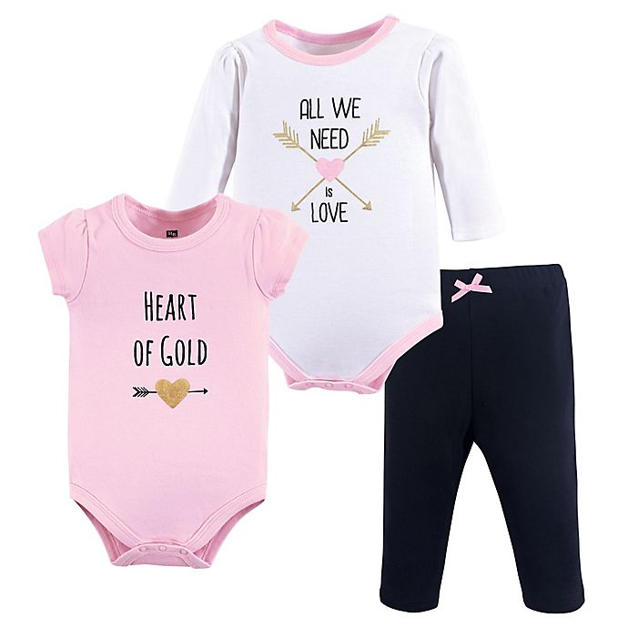 Alternate image 1 for Hudson Baby® Heart 3-Piece Bodysuit and Pant Set in Pink