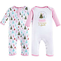 Hudson Baby® 2-Pack Sparkle Trees Bodysuits in Red
