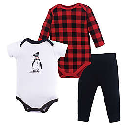 Hudson Baby® 3-Piece Penguin Layette Set in Red
