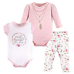 Little Treasures 3-Piece Boho Bodysuit and Pant Set in Pink