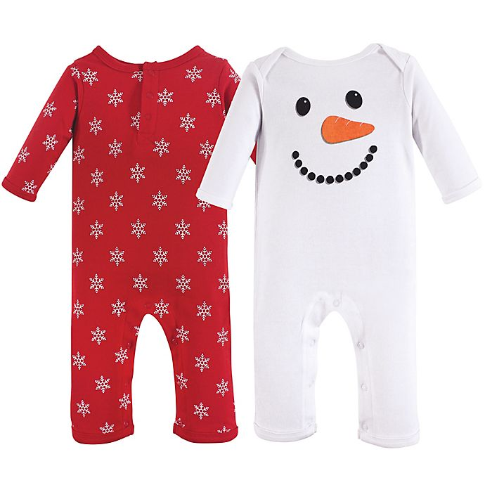 Alternate image 1 for Hudson Baby® 2-Pack Snowman Footies in Red/White
