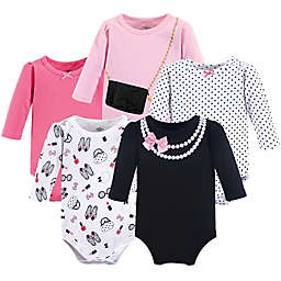 Little Treasures Size 9-12M 5-Pack Pearls Long Sleeve Bodysuits in Pink