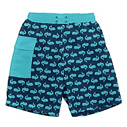 i play.® Whales Swim Trunks with Built-in Reusable Swim Diaper in Navy