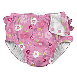 i play.® Floral Ruffle Snap Swim Diaper in Hot Pink
