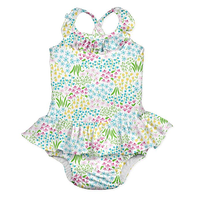 1758f8e6ca315 i play.® 1-Piece Flower Patch Ruffle Swimsuit with Built-In Swim Diaper in  White