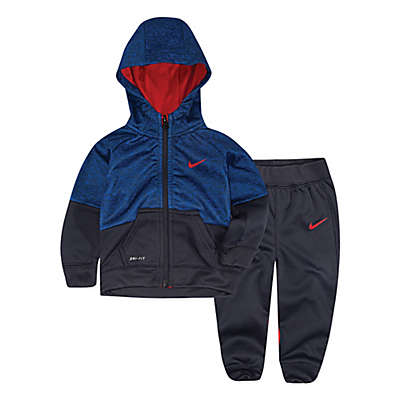 Nike® Colorblock 2-Piece Speckle Hoodie and Pants Set in Blue