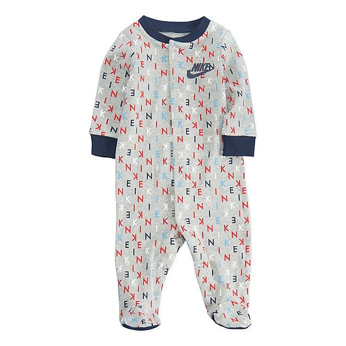 Alternate image 1 for Nike® Logo Print Footed Coverall in Grey