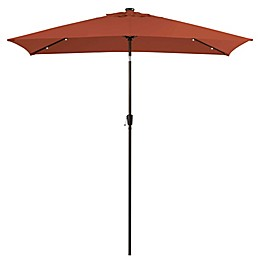 Destination Summer 11-Foot Rectangular Aluminum Solar Patio Umbrella