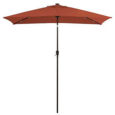 11-Foot Rectangular Aluminum Solar Patio Umbrella