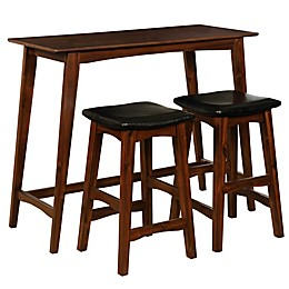Linon Home Corin 3-Piece Tavern Set in Walnut/Dark Brown