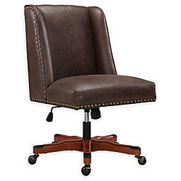 Linon Home Draper Faux Leather Office Chair in Brown