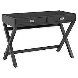 Linon Home Peggy X-Frame Writing Desk in Black
