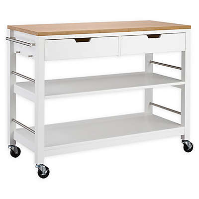 Trinity Bamboo Top Kitchen Cart in White