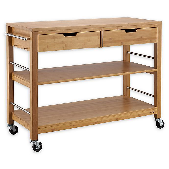 Trinity Bamboo Kitchen Island With Drawers Bed Bath Beyond