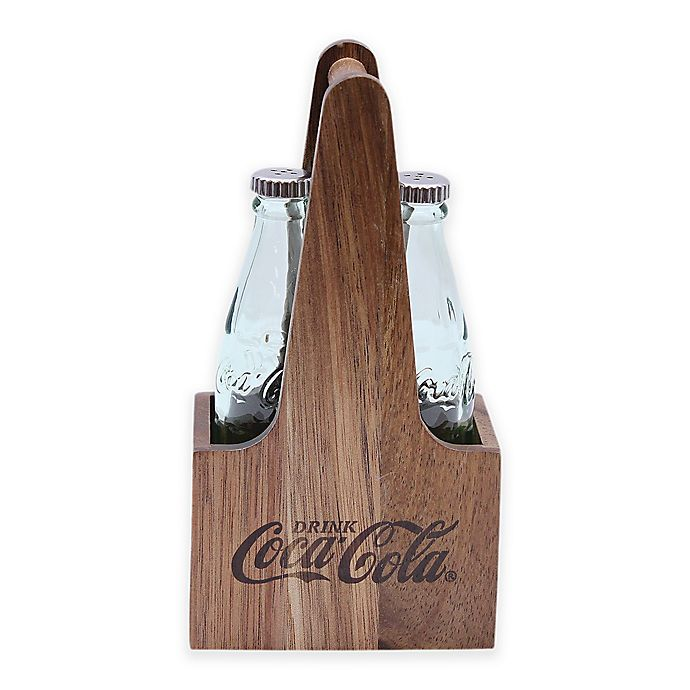 Alternate image 1 for Tablecraft® Products Coca-Cola® Wood Salt & Pepper Caddy Set in Clear/Brown