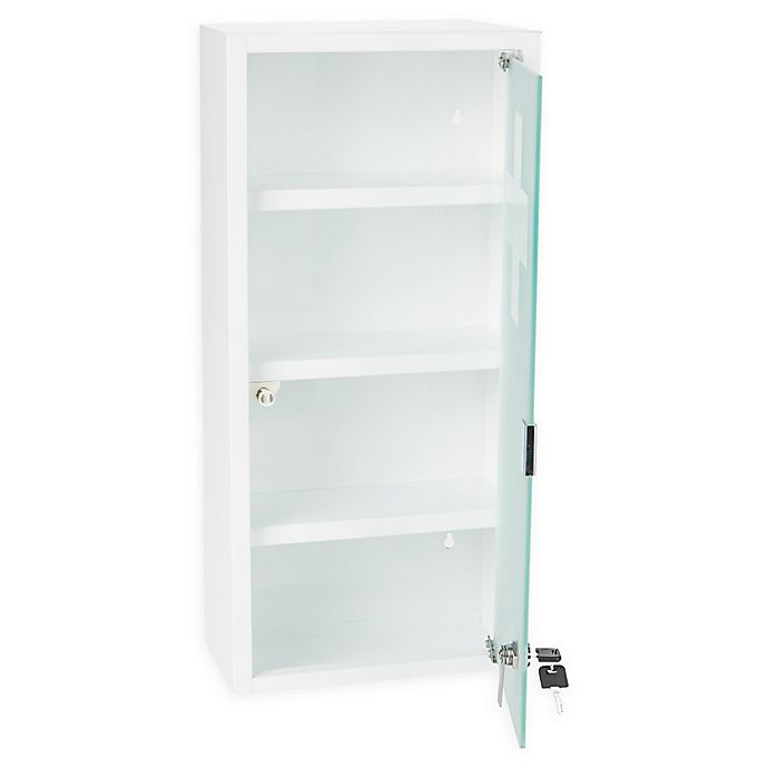 Alternate image 1 for Mind Reader 4-Tier Medicine Cabinet with Tempered Glass