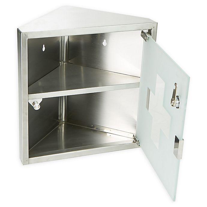 Alternate image 1 for Mind Reader 2-Tier Corner Stainless Steel Medicine Cabinet with Tempered Glass