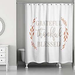 "Designs Direct ""Grateful Thankful Blessed"" Shower Curtain in Orange"